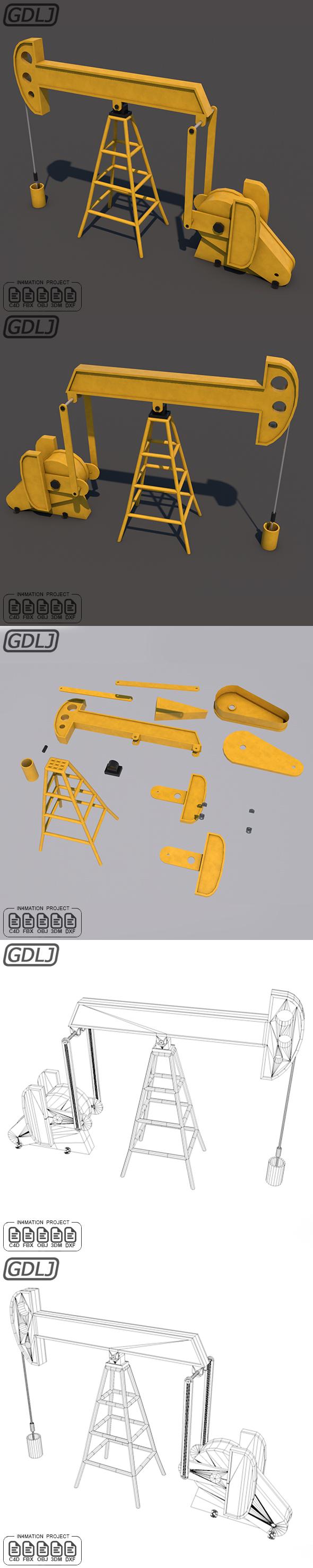Oil Pumpjack 3D Model - 3DOcean Item for Sale