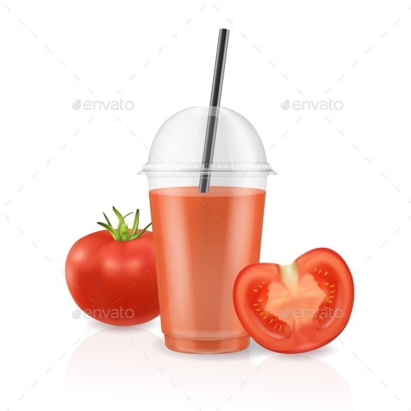 Vector Realistic Clear Plastic Disposable - Food Objects