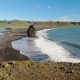 Panorama From Ground To Landscape with Ocean Waves and Rocks on a Southern Coastline of Iceland - VideoHive Item for Sale