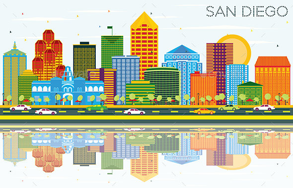 San Diego California Skyline with Color Buildings - Buildings Objects