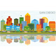 San Diego California Skyline with Color Buildings - GraphicRiver Item for Sale