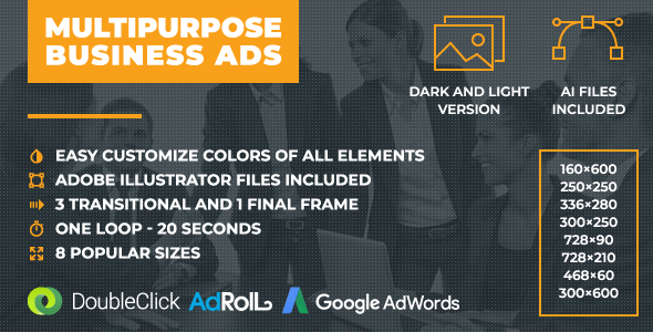 Multipurpose Business Ads - Animated HTML5 Banner Ad Templates (GWD) - CodeCanyon Item for Sale