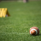 American football ball and green grass field - PhotoDune Item for Sale