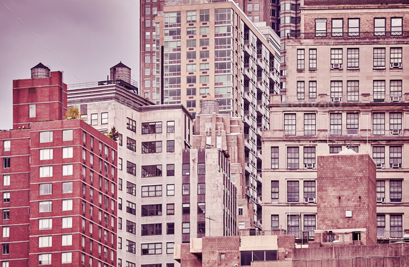 Vintage toned picture of old Manhattan buildings, NYC. - Stock Photo - Images