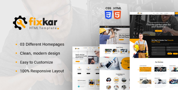 FixKar – HTML Template for Services and Repairing Business