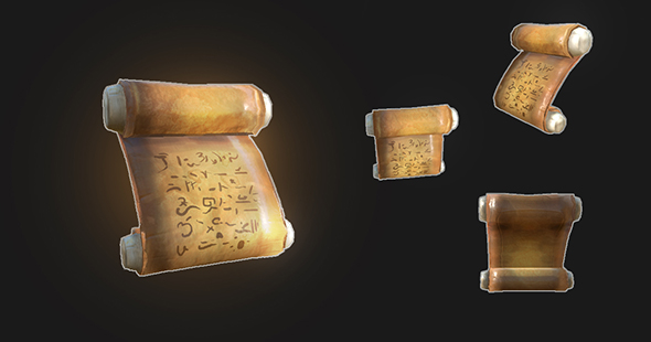 Ancient Scroll - low poly - 3DOcean Item for Sale