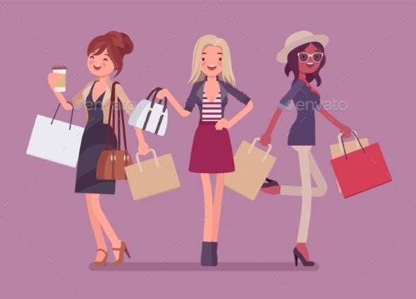 Happy Women After Shopping - People Characters