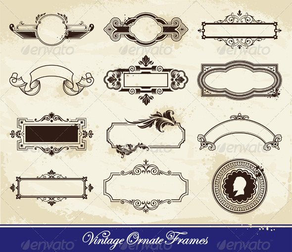 Vector set of vintage frames - Decorative Vectors