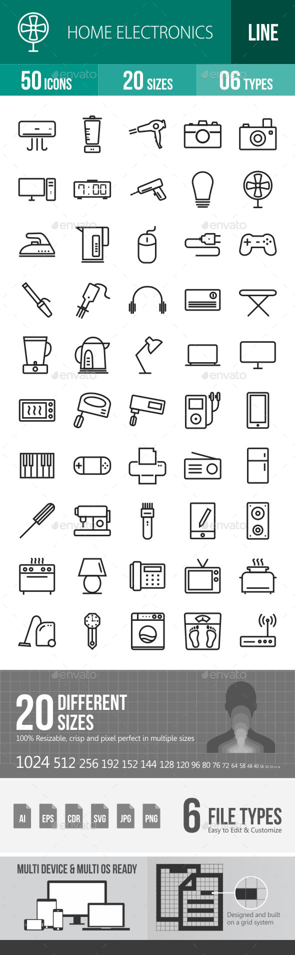 Home Electronics Line Icons - Icons