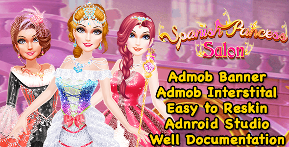 Spanish Princess Salon Dress Up Game For Kids + Ready For Publish + Admob + Android Studio - CodeCanyon Item for Sale