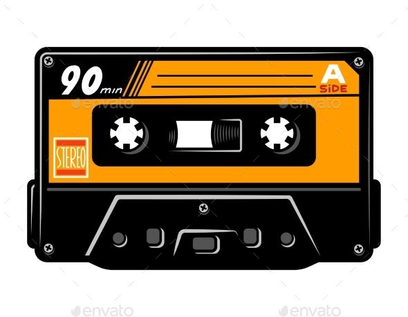Vintage Colorful Audio Casette Concept - Retro Technology
