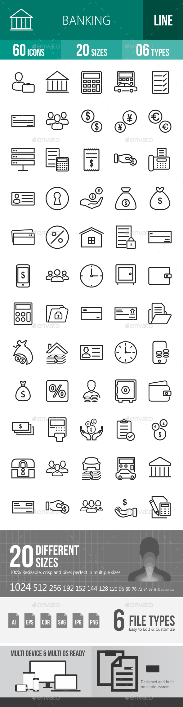 Banking Line Icons - Icons