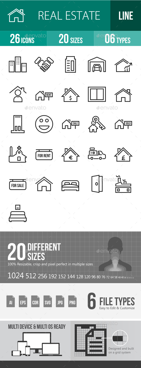Real Estate Line Icons - Icons