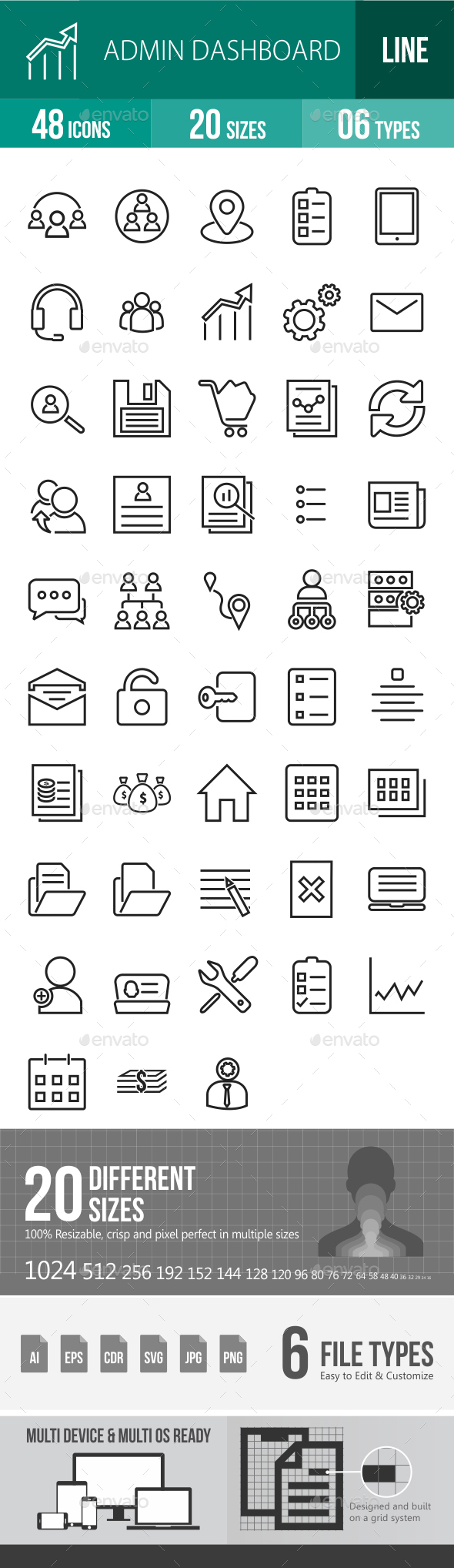 Admin Dashboard Line Icons - Icons