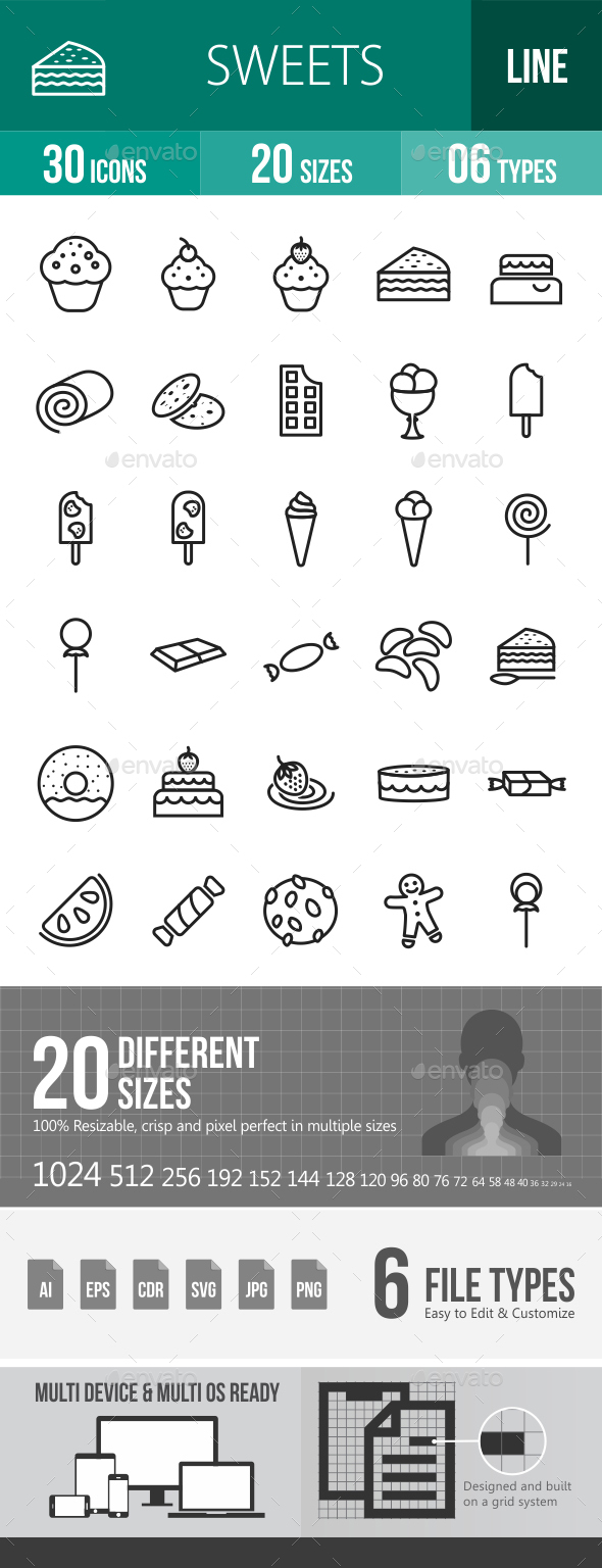 Sweets Line Icons - Icons