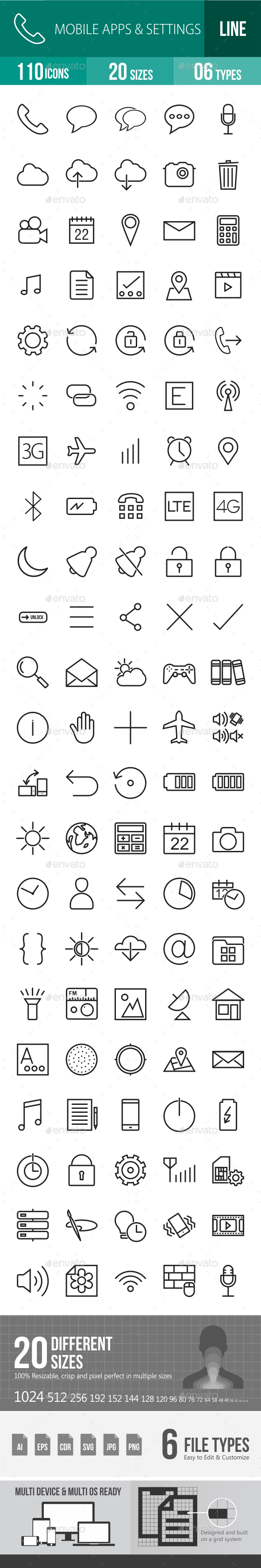 Mobile Apps & Settings Line Icons - Icons