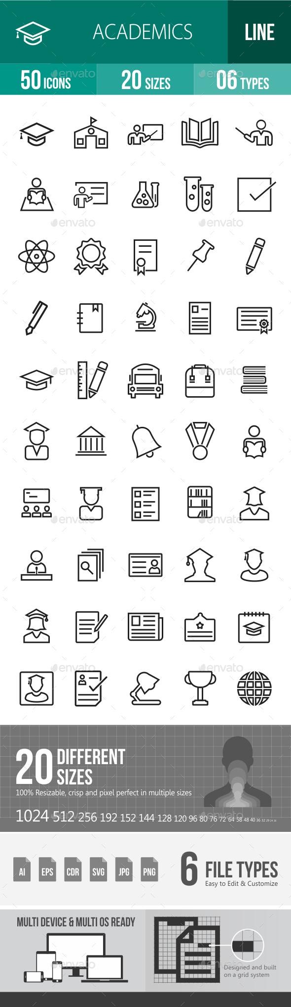 Academics Line Icons - Icons