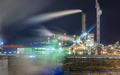 Steam from the chemical plant at night