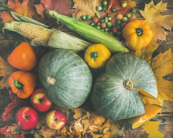 Fall vegetables assortment over wooden table background, top view - Stock Photo - Images
