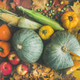 Fall vegetables assortment over wooden table background, top view - PhotoDune Item for Sale