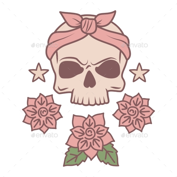 Skull and Flowers Tattoo Template by ssstocker | GraphicRiver