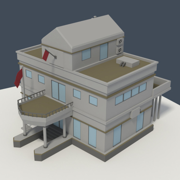 Low Poly Consulate Building