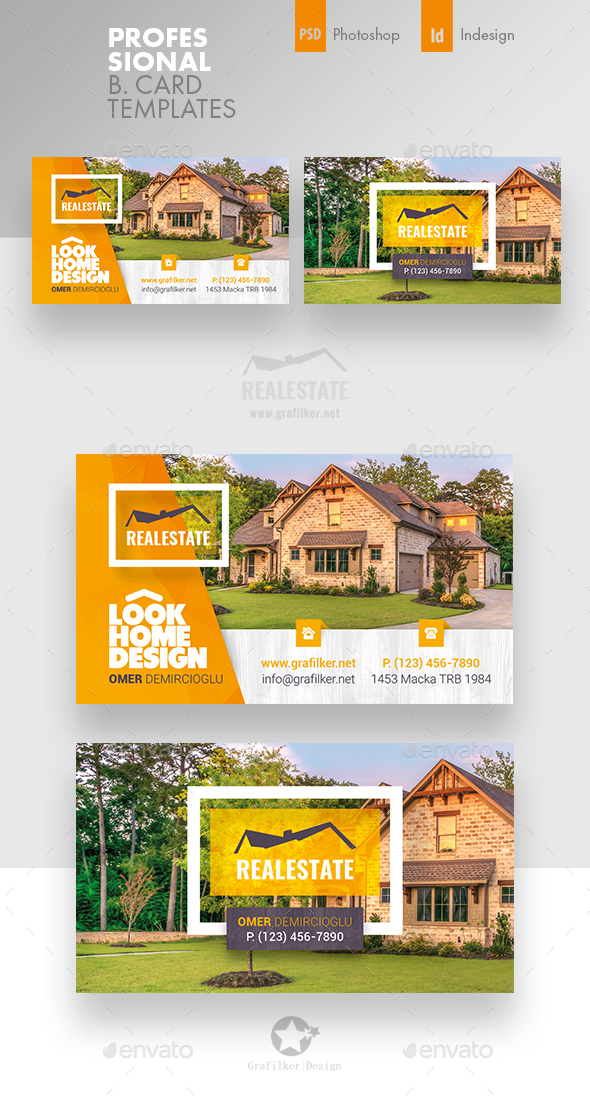 Real estate business card templates by grafilker graphicriver real estate business card templates corporate business cards reheart Images