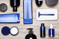 Men cosmetics must-haves - male grooming products flat lay