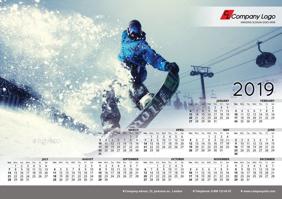 2019 Poster Calendar Template By Lacroix Graphicriver