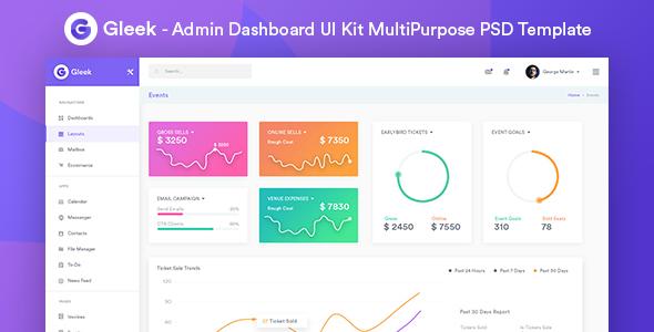 Gleek – Admin Dashboard UI Kit MultiPurpose PSD Template