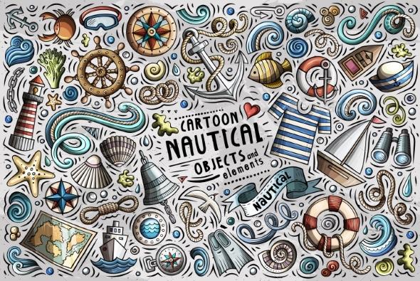 Vector Doodle Cartoon Set of Nautical Objects - Travel Conceptual