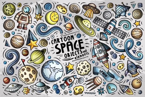 Doodle Cartoon Set of Space Themed Objects - Backgrounds Decorative