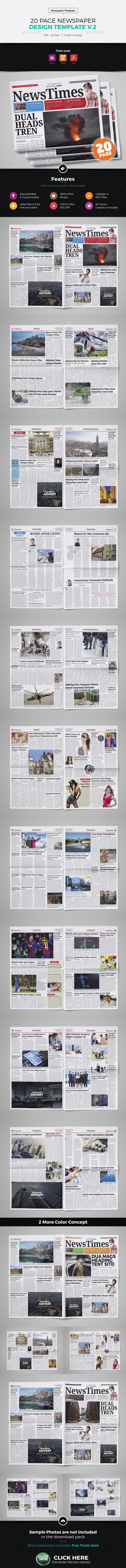 20 Page Newspaper Design v2 - Newsletters Print Templates