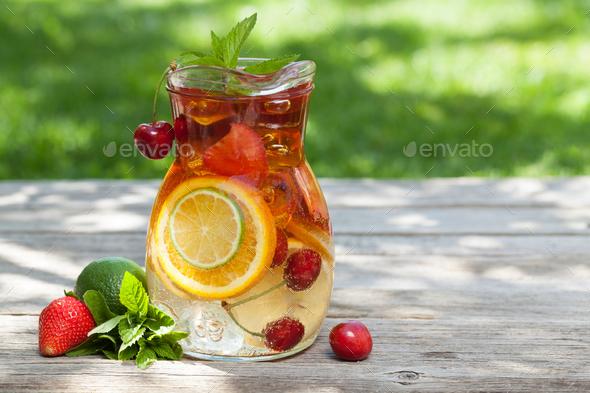 Homemade lemonade or sangria - Stock Photo - Images