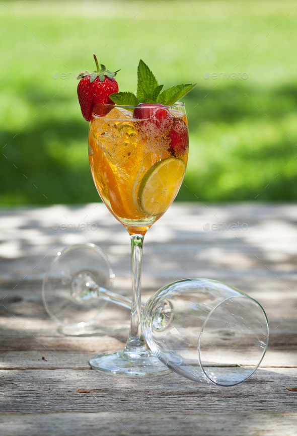 Homemade lemonade or sangria - Stock Photo - Images