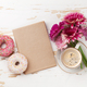 Coffee cup, donuts and gerbera flowers - PhotoDune Item for Sale