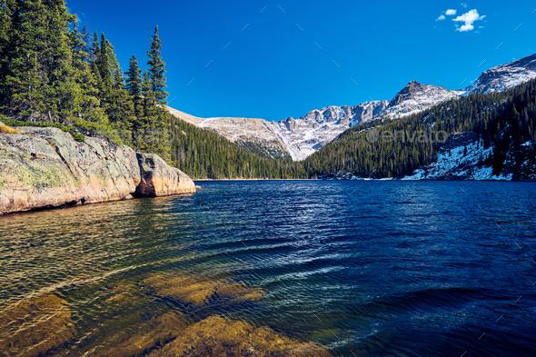 Lake Verna, Rocky Mountains, Colorado, USA. - Stock Photo - Images
