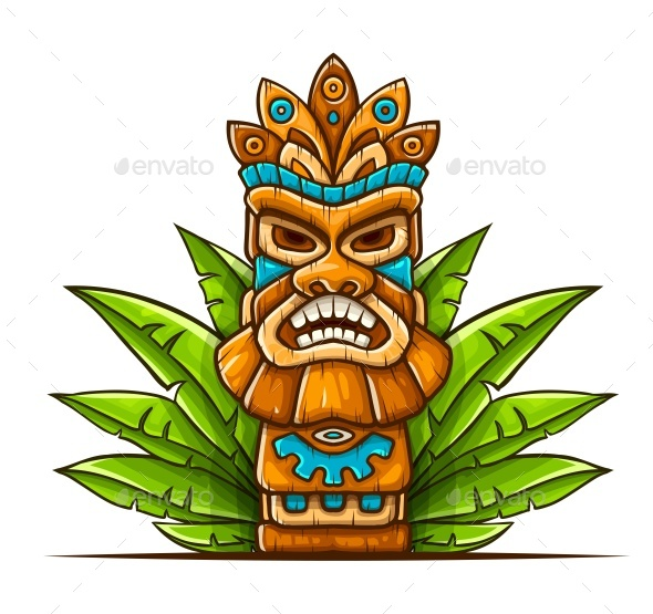 Tiki Traditional Hawaiian Tribal Mask - Miscellaneous Vectors