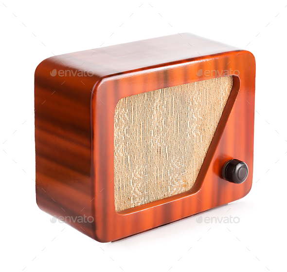 Old Wooden Radio Isolated with Clipping Path. - Stock Photo - Images