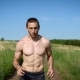 Portrait of a Muscular Shirtless Man Running Across the Field. - VideoHive Item for Sale