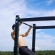 Muscular Shirtless Man Doing Pull Ups on a Bar in Mountains. - VideoHive Item for Sale