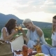 Young Happy Friends, Laughing and Drinking Wine at a Picnic, at Sunset Overlooking the Mountains - VideoHive Item for Sale