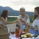 Young Happy Friends Laughing and Drinking Wine at a Picnic - VideoHive Item for Sale