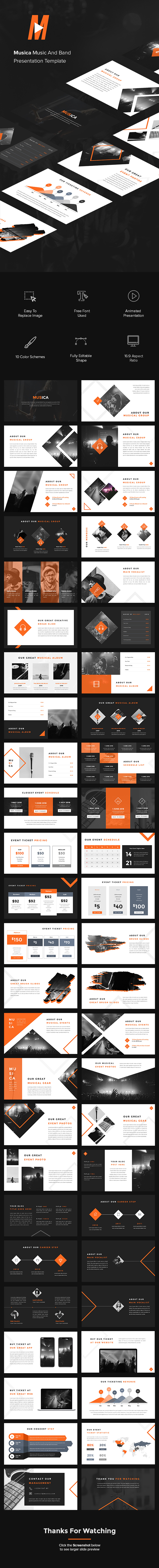 Musica - Music And Band PowerPoint Template - Miscellaneous PowerPoint Templates