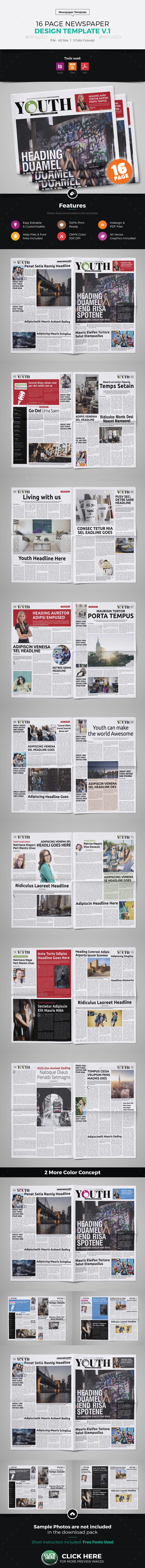 16 Page Newspaper Design v1 - Newsletters Print Templates
