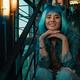 Cheerful girl portrait with stylish blue hair and pretty face ex - PhotoDune Item for Sale