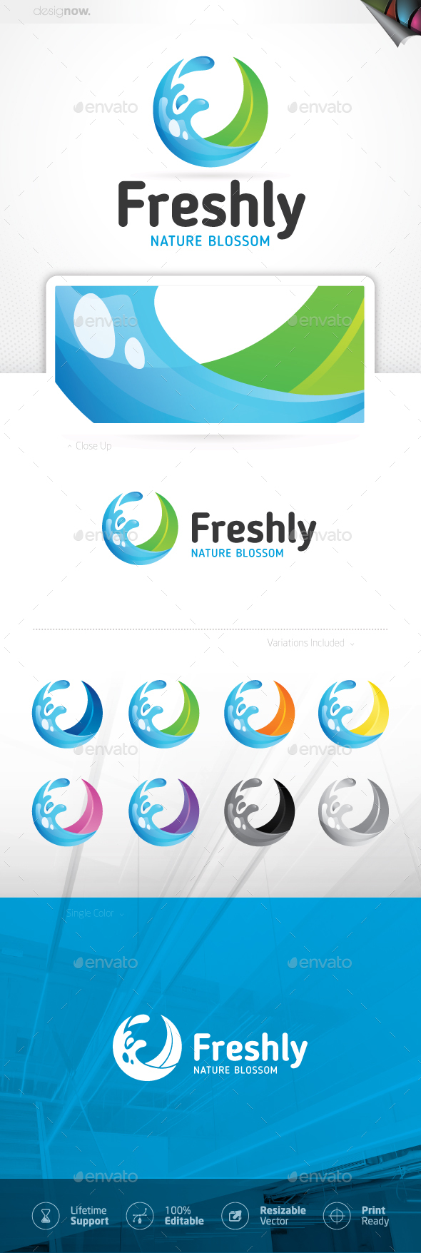 Fresh Water Wave Circular Logo - Nature Logo Templates
