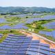 aerial view of hillside solar energy - PhotoDune Item for Sale