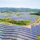 solar power station on hillside, aerial view of renewable energy - PhotoDune Item for Sale