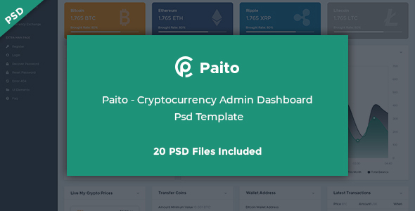 Paito - Crypto-currency Admin Dashboard Psd Template - PSD Templates
